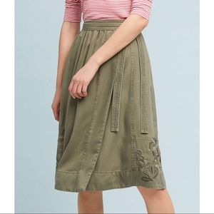 NWOT Anthropologie Maeve Embroidered Wrap Skirt